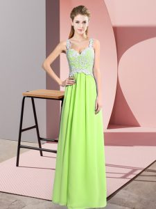 Fancy Sleeveless Zipper Floor Length Lace