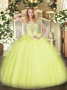 Yellow Green Tulle Lace Up V-neck Sleeveless Floor Length Quinceanera Gown Beading and Ruffles