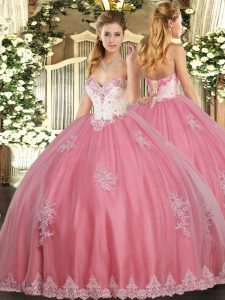 Spectacular Watermelon Red Sleeveless Tulle Lace Up Sweet 16 Dresses for Military Ball and Sweet 16 and Quinceanera