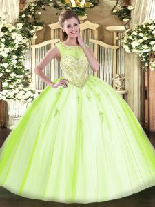 Gorgeous Tulle Scoop Sleeveless Zipper Beading and Appliques Sweet 16 Quinceanera Dress in Yellow Green