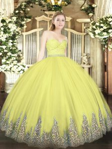 Ideal Floor Length Yellow Quinceanera Dress Tulle Sleeveless Beading and Lace and Appliques