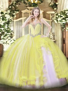 Floor Length Yellow Quinceanera Gown Sweetheart Sleeveless Lace Up