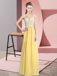 Clearance Yellow V-neck Neckline Lace Prom Party Dress Sleeveless Zipper