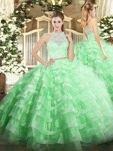 Lace and Ruffled Layers Vestidos de Quinceanera Apple Green Zipper Sleeveless Floor Length