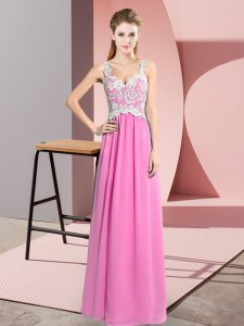 Rose Pink Sleeveless Lace Floor Length Prom Dresses
