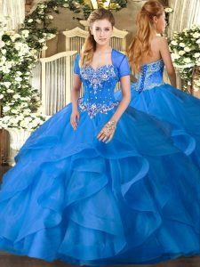 High Class Baby Blue Ball Gowns Sweetheart Sleeveless Tulle Floor Length Lace Up Beading and Ruffles Quinceanera Dresses