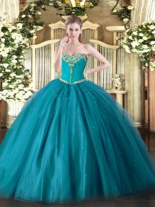 Eye-catching Floor Length Lace Up Sweet 16 Dress Teal for Military Ball and Sweet 16 and Quinceanera with Beading