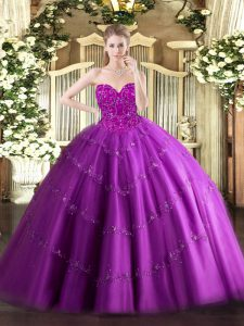 New Style Fuchsia Sleeveless Tulle Lace Up Quinceanera Dress for Military Ball and Sweet 16 and Quinceanera