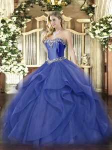Fabulous Blue Tulle Lace Up Sweetheart Sleeveless Floor Length Quinceanera Gowns Beading and Ruffles