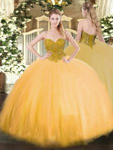 Gold Ball Gowns Sweetheart Sleeveless Tulle Floor Length Lace Up Beading Quinceanera Gowns