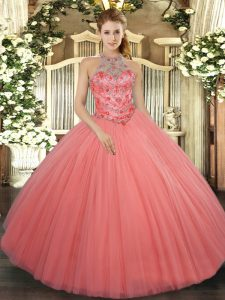 Floor Length Watermelon Red Quince Ball Gowns Tulle Sleeveless Beading and Embroidery