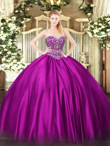 Luxury Fuchsia Ball Gowns Sweetheart Sleeveless Satin Floor Length Lace Up Beading Sweet 16 Dresses