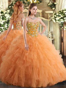 Orange Tulle Lace Up Ball Gown Prom Dress Sleeveless Floor Length Embroidery and Ruffles