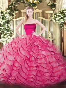 Sleeveless Brush Train Ruffled Layers Zipper Quinceanera Gown
