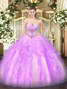 Graceful Lilac Sleeveless Tulle Lace Up Vestidos de Quinceanera for Military Ball and Sweet 16 and Quinceanera