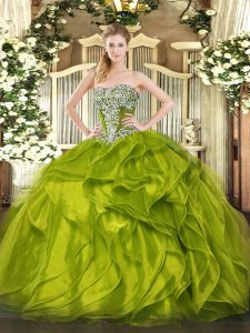Olive Green Strapless Lace Up Beading and Ruffled Layers Quinceanera Dress Sleeveless