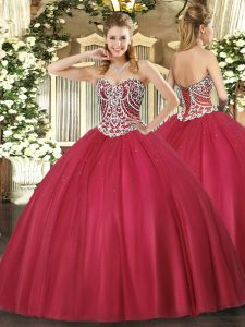 Red Vestidos de Quinceanera Military Ball and Sweet 16 and Quinceanera with Beading Sweetheart Sleeveless Lace Up