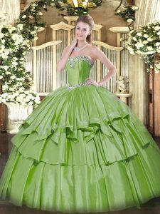 Floor Length Yellow Green Sweet 16 Dress Organza and Taffeta Sleeveless Beading and Ruffled Layers