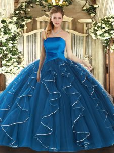 Traditional Strapless Sleeveless Tulle Quinceanera Dresses Ruffles Lace Up