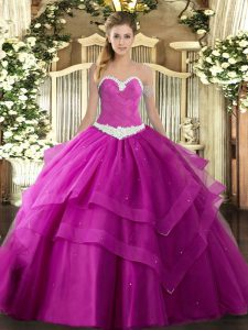 Appliques and Ruffled Layers Ball Gown Prom Dress Fuchsia Lace Up Sleeveless Floor Length