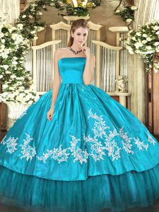 On Sale Aqua Blue Sleeveless Floor Length Embroidery Zipper Quinceanera Dress