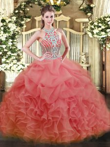 Cheap Sleeveless Beading Lace Up Quinceanera Gown