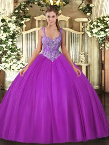 Fuchsia Lace Up Vestidos de Quinceanera Beading Sleeveless Floor Length