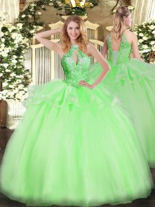 Sweet 16 Dress Military Ball and Sweet 16 and Quinceanera with Beading Halter Top Sleeveless Lace Up