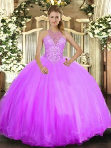 On Sale Lilac Ball Gowns Halter Top Sleeveless Tulle Floor Length Lace Up Beading Ball Gown Prom Dress