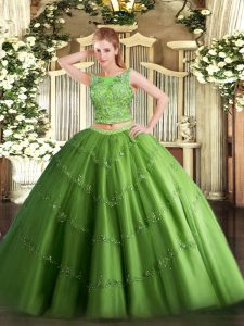 Most Popular Green Scoop Lace Up Beading and Appliques Sweet 16 Dress Sleeveless