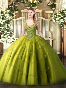 Deluxe Olive Green Ball Gowns Tulle V-neck Sleeveless Beading and Appliques Floor Length Lace Up Quinceanera Gowns