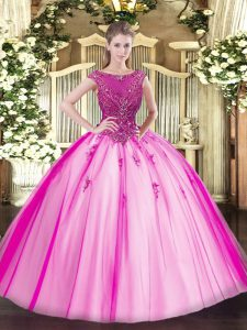 Fuchsia Sweet 16 Dresses Sweet 16 and Quinceanera with Beading and Appliques Scoop Cap Sleeves Lace Up