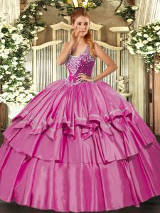 Sleeveless Floor Length Beading and Ruffled Layers Lace Up Quince Ball Gowns with Lilac
