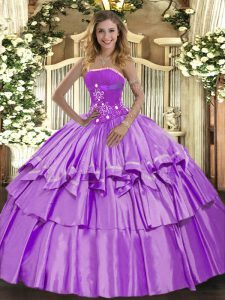 Superior Lavender Ball Gowns Organza and Taffeta Strapless Sleeveless Beading and Ruffled Layers Floor Length Lace Up Quinceanera Dresses