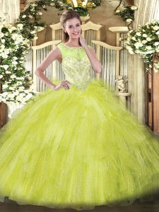 Scoop Sleeveless Organza Quince Ball Gowns Beading and Ruffles Zipper