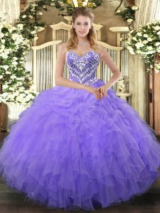 Dynamic Lilac Sleeveless Beading and Ruffles Floor Length 15 Quinceanera Dress