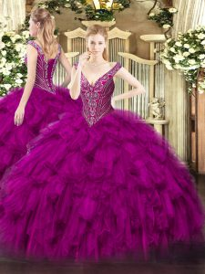 Sumptuous Floor Length Ball Gowns Sleeveless Fuchsia Quinceanera Dresses Lace Up