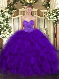 Customized Sweetheart Sleeveless Organza Quinceanera Gowns Beading and Ruffles Lace Up