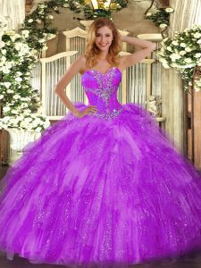 Modest Eggplant Purple Ball Gowns Organza Sweetheart Sleeveless Beading and Ruffles Floor Length Lace Up 15 Quinceanera Dress