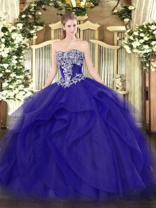 Wonderful Floor Length Blue Quinceanera Gown Tulle Sleeveless Beading and Ruffles