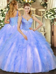 Luxury Blue Sleeveless Floor Length Beading and Ruffles Lace Up Sweet 16 Dress