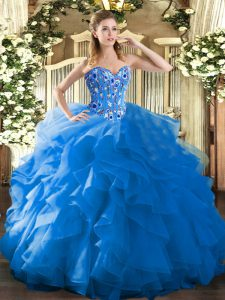 High Quality Blue Ball Gowns Sweetheart Sleeveless Organza Floor Length Lace Up Embroidery and Ruffles Sweet 16 Dress