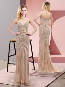Sumptuous Champagne Lace Sweep Train Sleeveless Beading