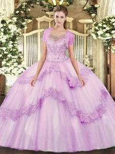 Floor Length Lilac Quinceanera Dresses Tulle Sleeveless Beading and Appliques