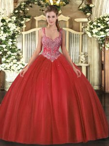 Modest V-neck Sleeveless Lace Up 15 Quinceanera Dress Coral Red Tulle