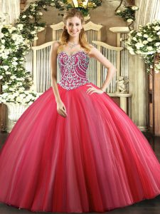 Coral Red Lace Up Sweetheart Beading Quinceanera Dresses Tulle Sleeveless