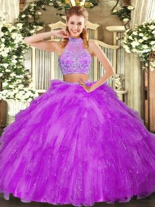 Inexpensive Fuchsia Two Pieces Halter Top Sleeveless Tulle Floor Length Criss Cross Beading and Ruffles Vestidos de Quinceanera