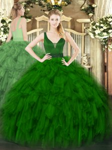 Dark Green Zipper Quinceanera Dress Beading and Ruffles Sleeveless Floor Length