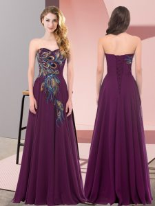 Embroidery Prom Dresses Dark Purple Lace Up Sleeveless Floor Length