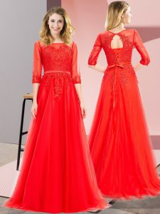 Best Selling Red Tulle Lace Up Square 3 4 Length Sleeve Floor Length Prom Gown Lace